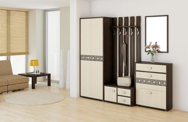 Дизайн большой квадратной прихожей — мебель